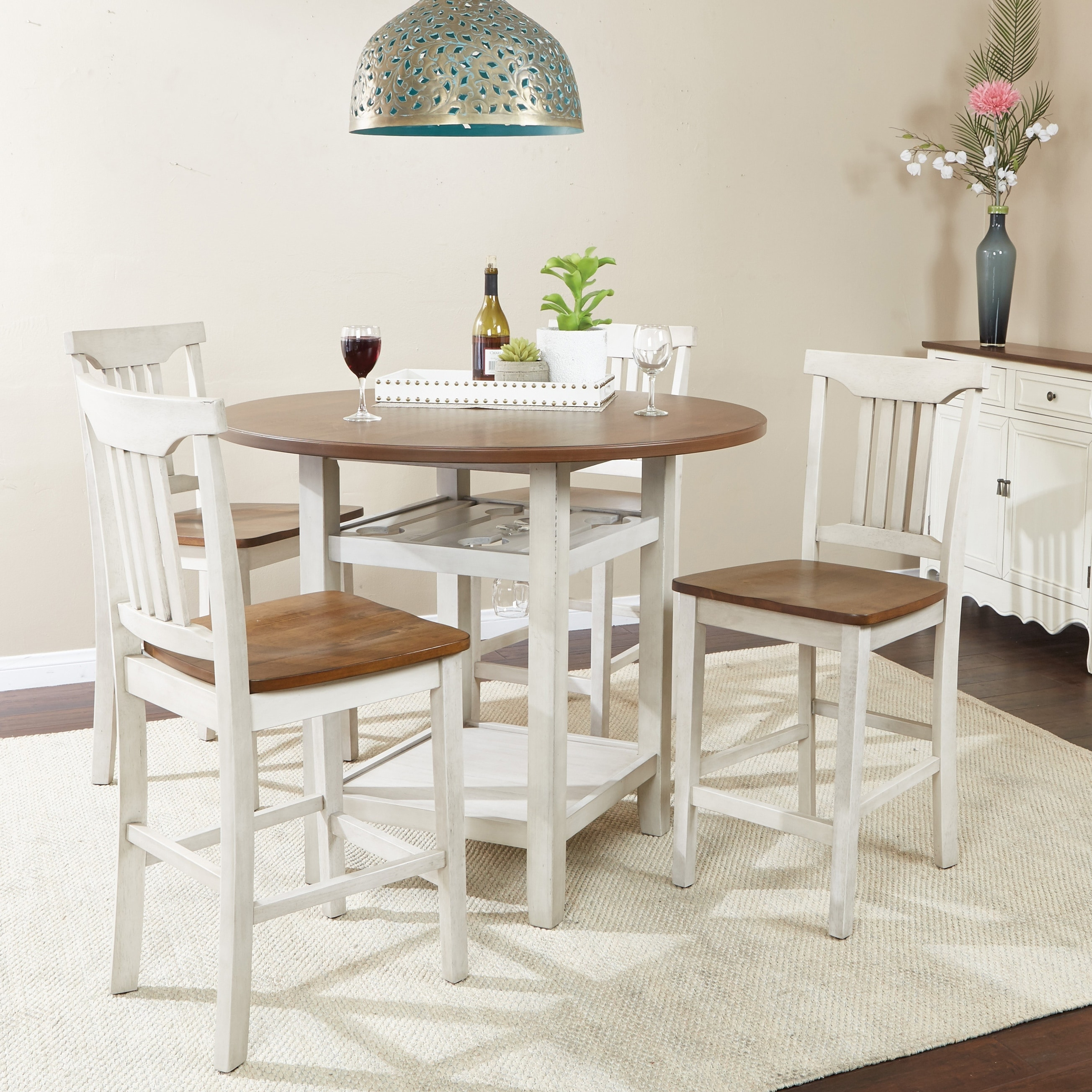 Porch & Den Simmons 5-piece Dining Room Chair and Table Set (Antique White)