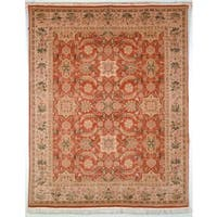 Safavieh Couture Hand-Knotted Versailles Vintage Rust / Beige Wool Rug - 6' x 9'