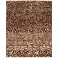 Safavieh Couture Hand-Knotted Asian Fushion Modern Chocolate / Beige Wool Rug - 8' x 10'