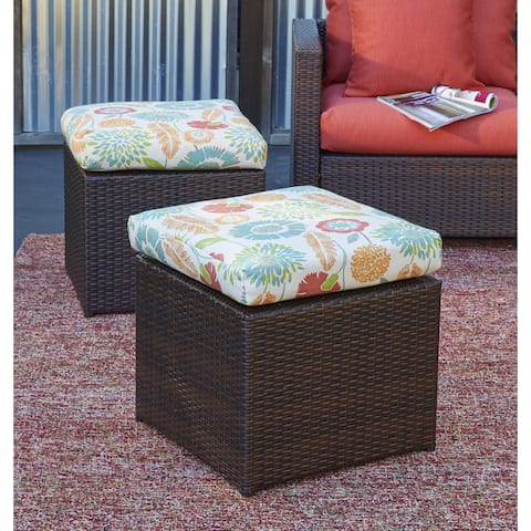 Havenside Home Stillwater Brown Rattan and Aluminum Outdoor 2-piece Ottoman Set with Orange Floral Cushions