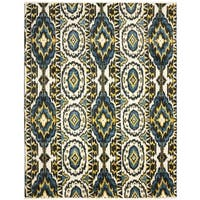 Safavieh Couture Hand-Knotted Calcutta Ikat Modern Ivory / Blue Wool Rug - 8' x 10'