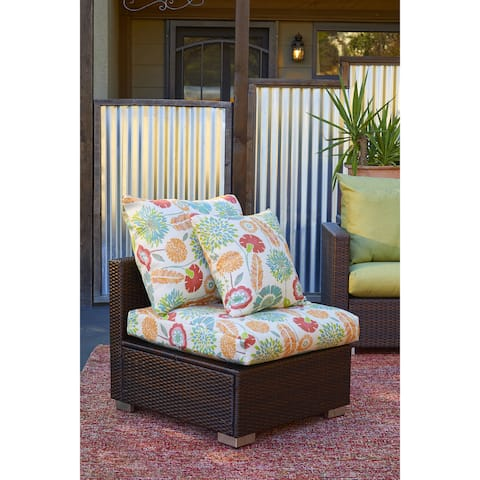 Handy Living Aldrich Brown Rattan and Aluminum Outdoor Armless Chair with Orange Floral Cushions