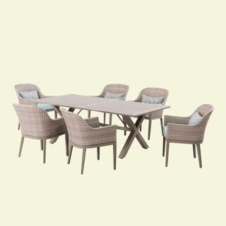 Havenside Home Gustavus Mid-century Beige 7-piece Outdoor Dining Set