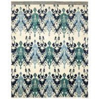 Safavieh Couture Hand-Knotted Calcutta Ikat Modern Ivory / Navy Wool Rug - 8' x 10'
