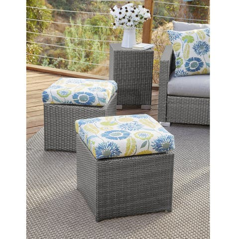 Stillwater Grey Rattan and Aluminum Outdoor Ottoman Set by Havenside Home
