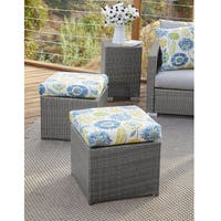 Handy Living Aldrich Grey Rattan and Aluminum Outdoor 2pc Ottoman Set with Blue Floral Cushions