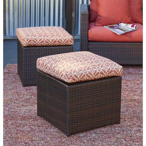 Handy Living Aldrich Brown Rattan and Aluminum Outdoor 2pc Ottoman Set with Terracotta Geometric Cushions