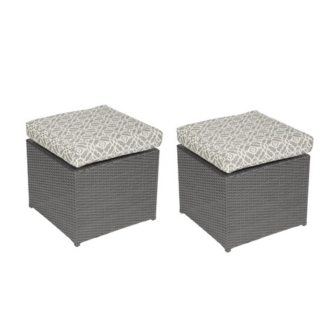 Handy Living Aldrich Grey Rattan and Aluminum Outdoor 2pc Ottoman Set with Grey Geometric Cushions