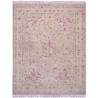 Safavieh Couture Hand-Knotted Dream Traditional Pink / Fuchsia Wool & Viscose Rug - 8' x 10'