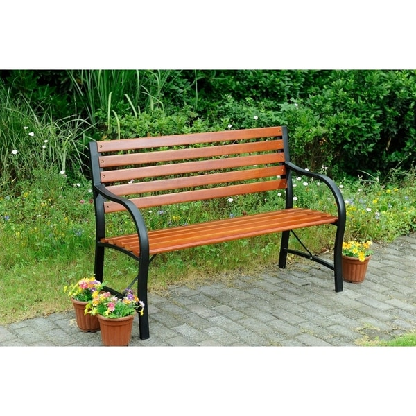 Shop Steel And Wood Outdoor Bench Free Shipping Today Overstock