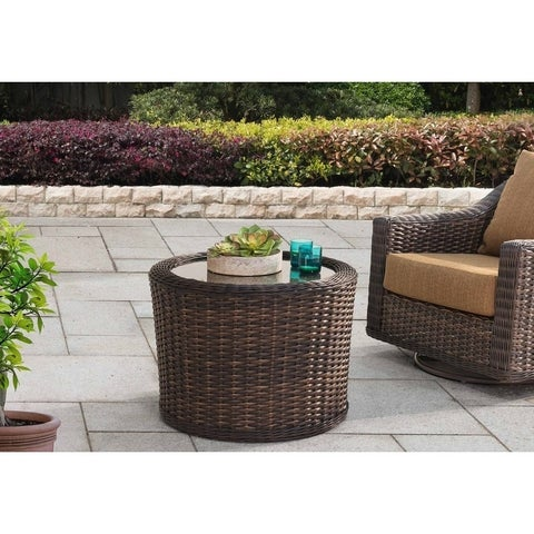 Rattan and Glass Top Outdoor Cocktail Coffee Table