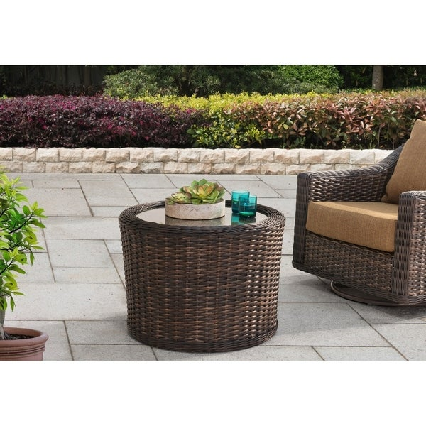 Shop Rattan And Glass Top Outdoor Cocktail Coffee Table