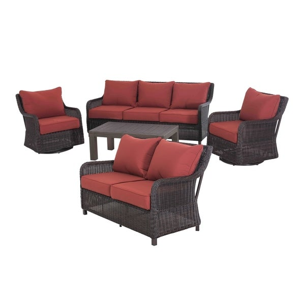 Brown Red Contemporary 5 Piece Deep Seating Wicker Patio Set Free Shipping Today 19895401