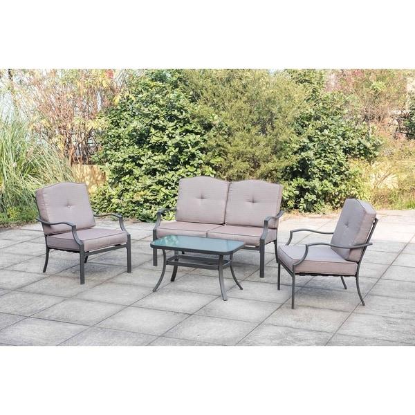sunjoy outdoor beige metal and fabric contemporary 4 piece outdoor patio set rh overstock com Spring Chair Patio Furniture 5 Piece Outdoor Patio Set
