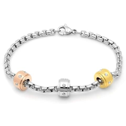 Piatella Ladies Stainless Steel Bracelet with Tri-Colored Charms and Cubic Zirconia