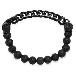 Steeltime Men's Black Lava Beaded Black IP Stainless Steel Skull and Chain Link Stretch Bracelet