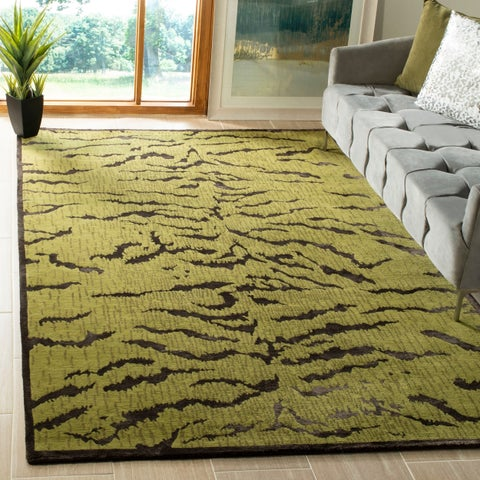 Safavieh Couture Hand-Knotted Contemporary Jade / Coffee Silk & Wool Rug - 8' x 10'