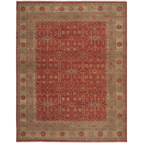 Safavieh Couture Hand-knotted Oushak Nurije Traditional Oriental Wool Rug with Fringe