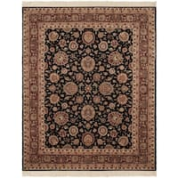 Safavieh Couture Hand-Knotted Royal Kerman Traditional Multi / Black Wool Rug - 8' x 10'