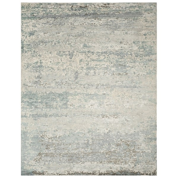 Safavieh Couture Hand-Knotted Tiffany Contemporary Silver / Blue Viscose & Cotton Rug (8' x 10')