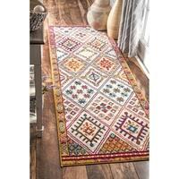 nuLOOM Clover Flower Rhombus Multi Color Runner Rug - 2'8 x 8'
