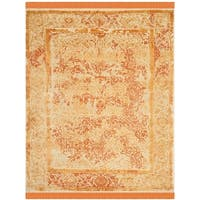 Safavieh Couture Hand-Knotted Dream Traditional Ivory / Orange Wool & Silk Rug - 9' x 12'