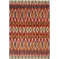Safavieh Couture Hand-Knotted Nepalese Contemporary Red / Green Wool Rug - 9' x 12'