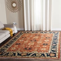 Safavieh Couture Hand-Knotted Heriz Traditional Rust / Navy Wool & Cotton Rug - 9' X 12'