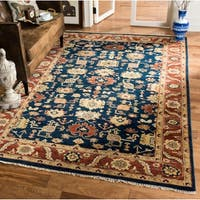Safavieh Couture Hand-Knotted Heriz Traditional Navy / Rust Wool & Cotton Rug - 9' x 12'