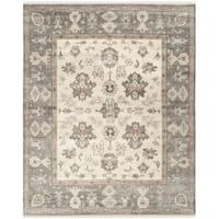 Safavieh Couture Hand-Knotted Oushak Traditional Ivory / Charcoal Wool Rug - 9' x 12'