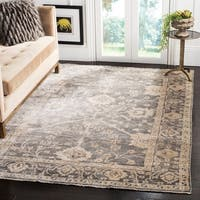 Safavieh Couture Hand-Knotted Oushak Traditional Dark Grey / Beige Viscose Rug - 9' x 12'