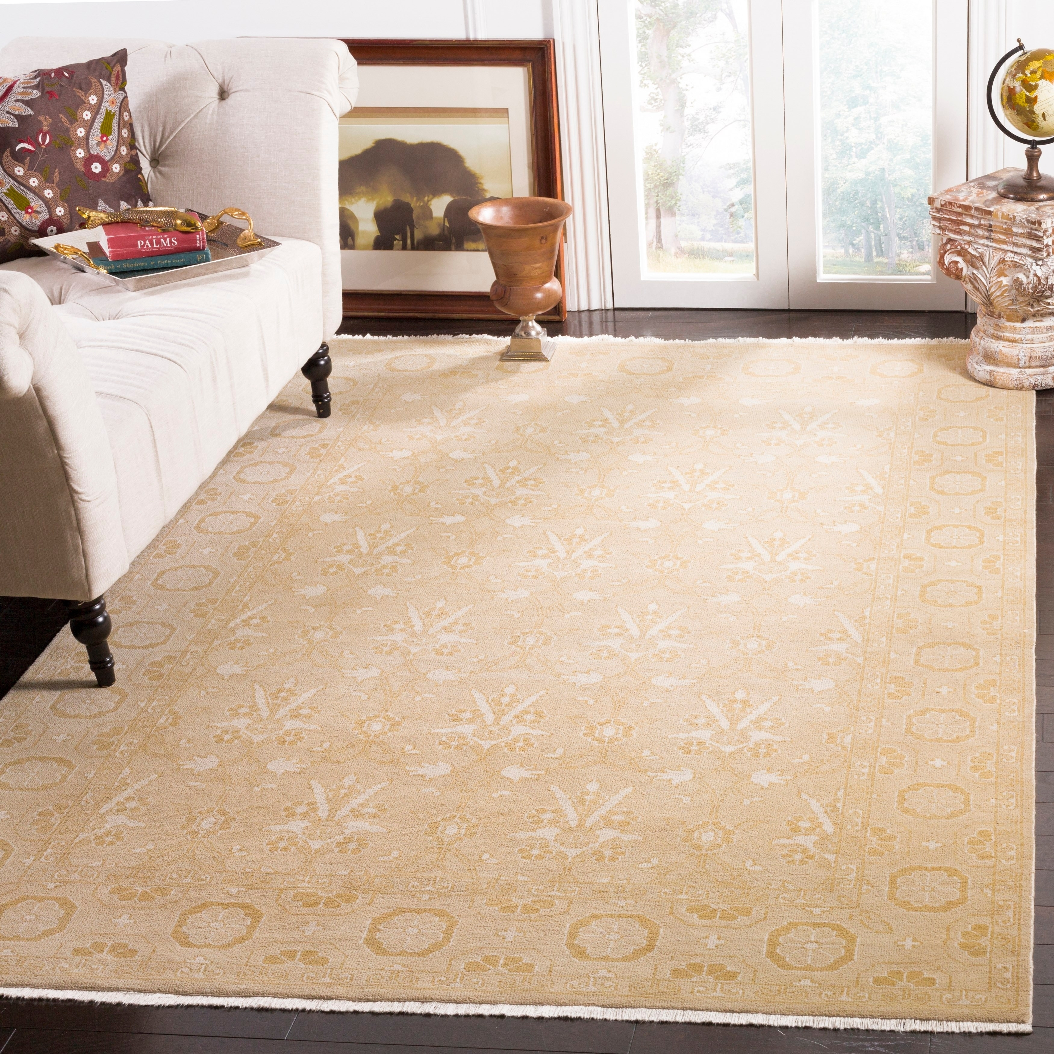 Safavieh Couture Hand Knotted Oushak Traditional Gold Wool Rug 9