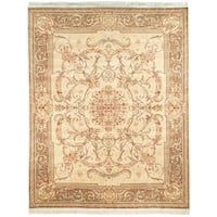 Safavieh Couture Hand-Knotted Royal Kerman Traditional Beige / Tan Wool Rug - 9' x 12'