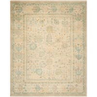 Safavieh Couture Hand-Knotted Sultanabad Traditional Ivory / Blue Wool Rug - 9' x 12'