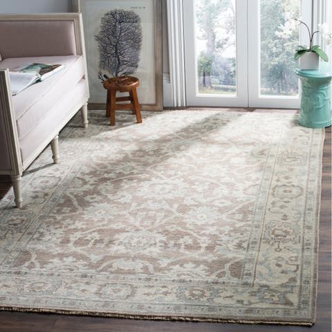 Safavieh Couture Hand-Knotted Sivas Vintage Grey / Ivory Wool Rug - 9' x 12'