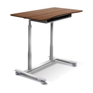 Ergo Sit - Stand Height Adjustable Standing Desk With Shelf (Option: Wood Finish/Walnut Finish/Steel Finish - Walnut)