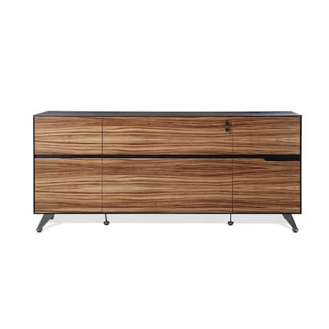Zebrano Wood Executive Modern Storage Filing Credenza
