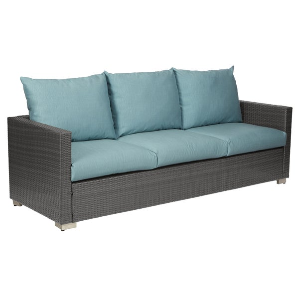 Havenside Home Stillwater Grey Resin Rattan Outdoor Sofa with Teal Blue Cushions