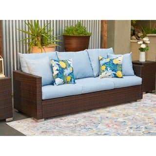 Havenside Home Stillwater Brown Rattan and Aluminum Outdoor Sofa with Sky Blue Cushions