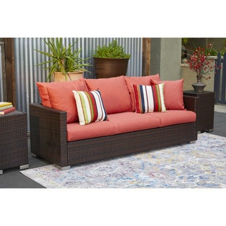 Handy Living Aldrich Brown Rattan and Aluminum Outdoor Sofa with Coral Cushions