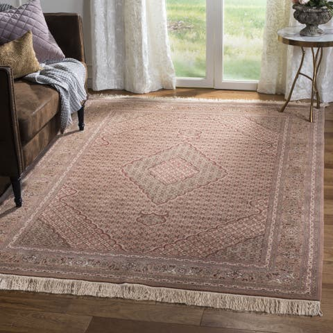 Safavieh Couture Hand-Knotted Tabriz Herati Vintage Brown / Multi Silk & Wool Rug - 9' x 12'