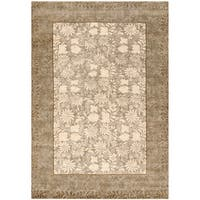 Safavieh Couture Hand-Knotted Contemporary Tan / Sage Wool & Silk Rug - 9' x 12'