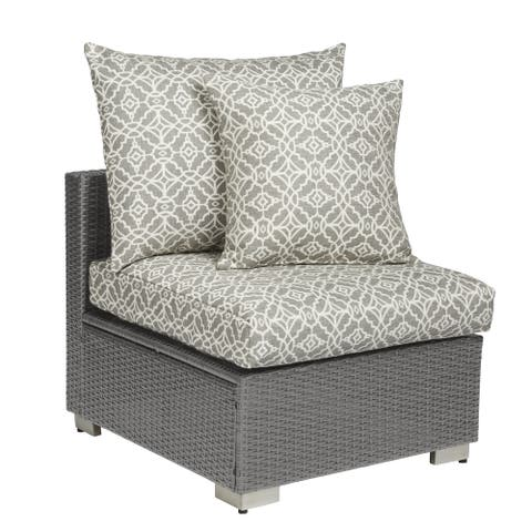 Handy Living Aldrich Grey Resin Rattan Outdoor Armless Chair with Grey Geometric Cushions
