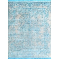 Safavieh Couture Hand-Knotted Dream Traditional Beige / Turquoise Wool & Silk Rug - 10' x 14'