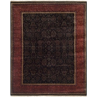 Safavieh Couture Hand-knotted Ganges River Shantell Traditional Oriental Wool Rug with Fringe (10 x 14 - Black/Rust)