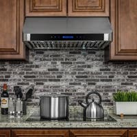 """AKDY RH0248 30"""" Stainless Steel Under Cabinet Range Hood Touch Panel Kitchen Cooking Fan with Remote"""