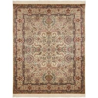 Safavieh Couture Hand-Knotted Royal Kerman Traditional Ivory / Ivory Wool Rug - 10' x 14'