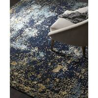 Safavieh Couture Hand-Knotted Tiffany Contemporary Navy / Gold Wool & Cotton Rug - 10' x 14'