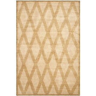 Safavieh Couture Hand-Knotted Contemporary Sandstone Wool Rug - 10' x 14'