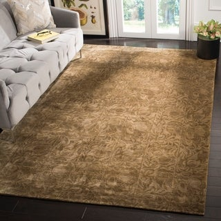 Safavieh Couture Hand-Knotted Contemporary Coco / Beige Wool & Silk Rug (10' x 14')